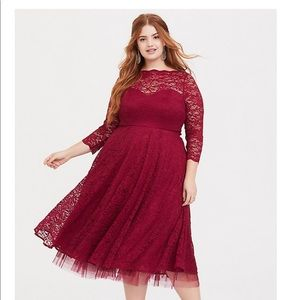 Torrid red mid knee lace dress- worn once
